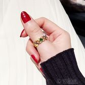 綠光水晶戒指日韓國潮人尾戒個性關節指環學生大氣網紅食指戒女 沸點奇跡