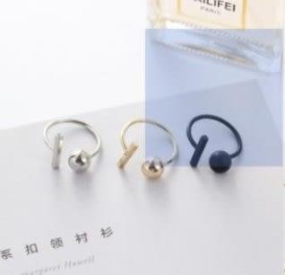 預購-食指極簡風銅質極簡圓球方條金銀黑個性開口戒指情侶指環