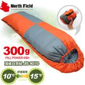 【North Field美國 信封型立體隔間90/10羽絨300g 睡袋《左/桔》】NDSD403LO/登山露營/睡袋