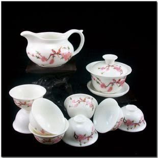 10頭喜鵲玉瓷茶具