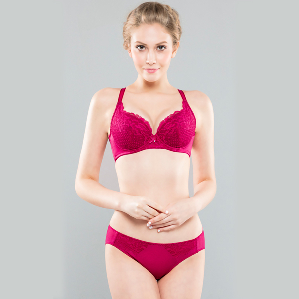 思薇爾-花霓系列A-C罩蕾絲包覆內衣(波爾紅)