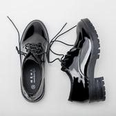 小皮鞋女復古韓版原宿風黑色軟厚底鞋子女
