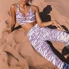 瑜珈服套裝(兩件套)-條紋印花背心瑜珈褲女運動服73zk16【時尚巴黎】