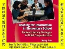 二手書博民逛書店Reading罕見For Information In Elementary School: Content Li