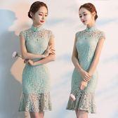 旗袍 改良版蕾絲旗袍連身裙夏季2018新款夏裝時尚少女中國風年輕旗袍裙  潮先生