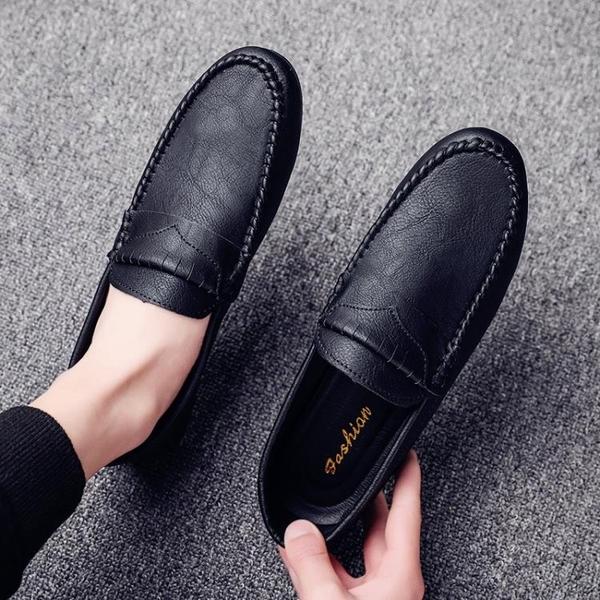 豆豆鞋2021年新款男鞋夏季黑色社會人小皮鞋英倫一腳蹬懶人鞋潮鞋 璐璐生活館