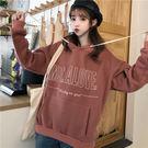 VK精品服飾 韓國風寬鬆連帽百搭字母刺繡學院風長袖上衣
