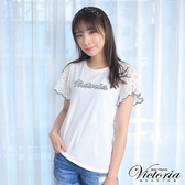 Victoria 袖片異材質拼接LOGO短袖T-女