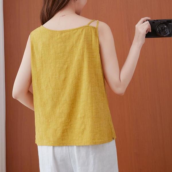 文藝復古胖MM顯瘦背心女夏季新款大碼寬松中國風無袖印花打底上衣