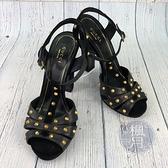 BRAND楓月 GUCCI古馳 經典 黑色 皮革 鉚釘 粗跟 高跟鞋 厚底鞋 鞋子 女生 #37.5