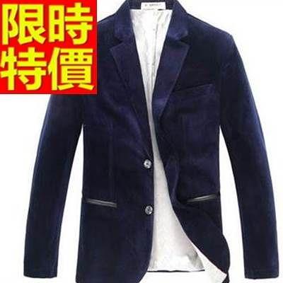 西裝外套  男韓版 西服 奢華大方-原創紳士風明星同款金絲絨65b10【巴黎精品】