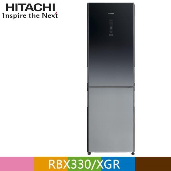 【南紡購物中心】HITACHI 日立 313公升變頻琉璃兩門冰箱RBX330漸層琉璃黑(XGR)