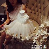 韓版高腰周歲花童婚紗禮服公主裙棉女童洋裝兒童日常蓬蓬裙禮服 igo 魔方數碼館