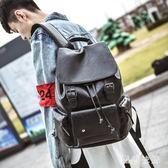 雙肩包男韓版皮質時尚個性休閒潮流背包學生大書包男士旅行英倫包 qf7570【黑色妹妹】