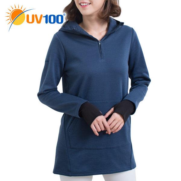 UV100 防曬 抗UV 保暖刷毛拼接連帽長版上衣-女