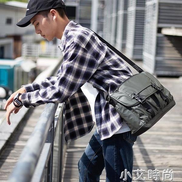 CK潮牌斜挎包男士橫款單肩包大容量休閒帆布包郵差包時尚復古男包【小艾新品】