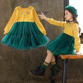 童裝秋冬正韓女童連身裙中大童長袖兒童毛衣裙公主裙洋装-小精靈生活館