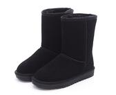 MICHELLE PARK 經典素面鋪毛麂皮牛皮保暖中筒雪鞋-黑