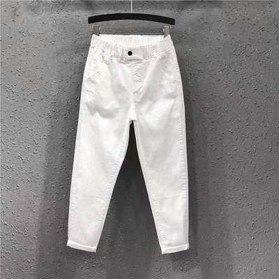 S-3XL寬褲~6602大碼松緊腰白色褲子女高腰九分牛仔褲哈倫褲女FFA040B日韓屋
