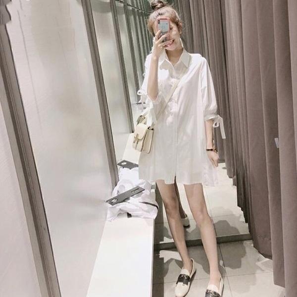 襯衫裙 2020夏裝新款韓版心機設計感白色襯衫上衣女寬鬆學生中長款襯衣裙