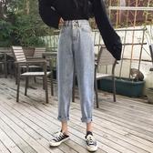 韓版褲子簡約鬆緊腰直筒褲女春裝高腰闊腿褲九分褲長褲春季新品