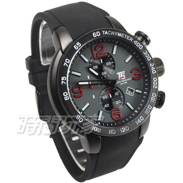 T5 sports time 粗曠型 真三眼計時男錶 防水手錶 橡膠錶帶 日期視窗 IP黑錶圈 H3450G紅字