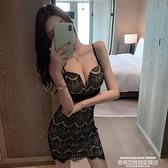 夜店洋裝 2021夏裝新款網紅性感夜店裝V領蕾絲收腰顯瘦網紗拼接吊帶連身裙 新品