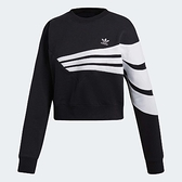 adidas 上衣 Originals Sweatshirt 女款 短版 長袖 大學服 大學T 三條線 黑白 黑 白【ACS】 DU9601