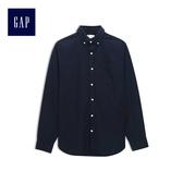 Gap男裝 純棉長袖基本款襯衫 500018-海軍藍地球刺繡