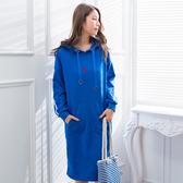 休閒洋裝--時尚運動風撞色織帶愛心口袋羅紋開衩長版連衣裙(藍XL-3L)-A383眼圈熊中大尺碼◎