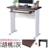 Homelike 格雷80x40工作桌-加厚桌面(附鍵盤架)-胡桃桌面/灰腳
