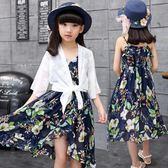 童裝夏裝韓版女童連身裙波西米亞中大童吊帶雪紡裙子沙灘裙公主裙 一米陽光