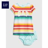 Gap女嬰兒 Logo純棉條紋短袖連衣裙 469186-彩色條紋