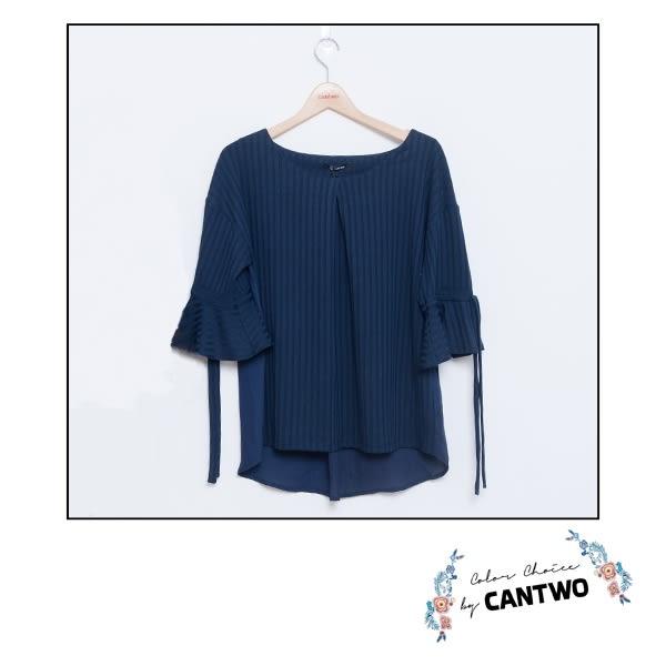 CANTWO異素材拼接荷葉袖上衣(共三色)~春夏新品登場