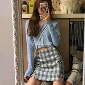 格子短裙包臀裙女夏季新款女學生韓版顯瘦高腰a字裙半身裙女 快速出貨