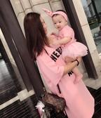 親子裝網紅法式親子裝2020新款潮夏季嬰兒母子母女裝一家四口洋氣連衣裙