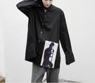 FINDSENSE Z1 韓國 時尚 潮 男 寬鬆大尺碼 下擺歐美人物印花 長袖