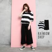 自訂款-七分袖橫條上衣+寬褲套裝組-M-Rainbow【A782191】