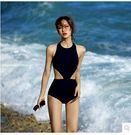 泳衣 黑色比基尼小胸高腰露背性感圓領連體...