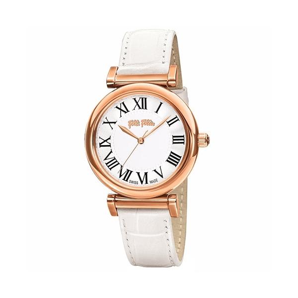 【Folli Follie】Obsession 羅馬時尚真皮腕錶-純白款/WF14R029SPS_WH/台灣總代理公司貨享兩年保固