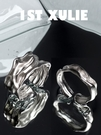 純銀戒指 1STXULIE小眾設計925純銀戒指簡約冷淡風肌理暗黑開口女食指戒【萬聖節限時】