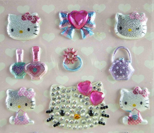 【震撼精品百貨】Hello Kitty 凱蒂貓~KITTY立體萊茵石貼紙-銀臉