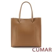 CUMAR 極簡素面多夾層手提斜背包-奶茶色