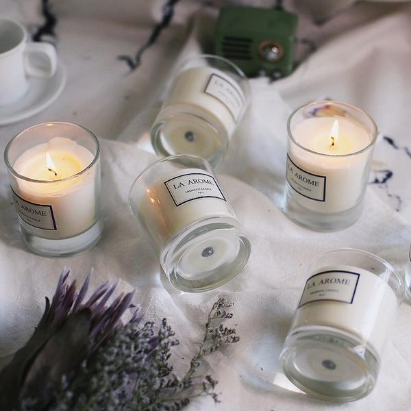 臥室精油香薰蠟燭杯進口大豆蠟宜家無煙安神香氛蠟燭禮盒淨化空氣