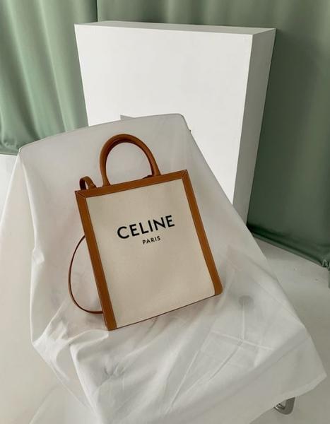 ■專櫃88折■ Celine 全新真品 Triomphe 帆布Logo小型直式Cabas2用托特包