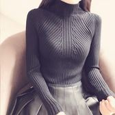秋冬半高領針織衫長袖套頭打底衫女裝毛衣短款修身顯胸柔軟保暖衫 巴黎時尚