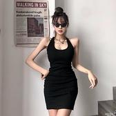 Amyway新品歐美性感露背交叉設計感掛脖洋裝心機修身包臀小黑裙連身裙