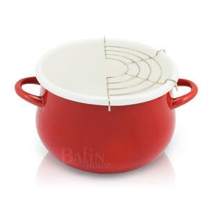 【日本 PETIT COOK】琺瑯油炸鍋 16CM (紅色)