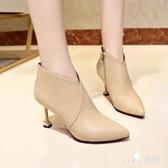 裸靴秋冬季新款拼接絨面尖頭英倫風復古皮靴百搭細跟高跟短靴 XN6355【VIKI菈菈】