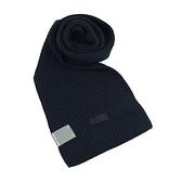 【南紡購物中心】MICHAEL KORS縮寫LOGO針織圍巾-深藍